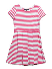 Striped Pleated Ponte Dress - BRIGHT ROSE/WHI