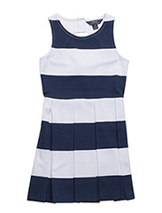 Striped Ponte Sleeveless Dress - NEWPORT NAVY/WH