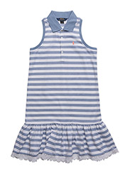 Striped Sleeveless Polo Dress - FRENCH BLUE/WHITE