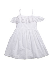 Cotton Off-the-Shoulder Dress - WHITE
