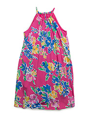 Floral Sleeveless Halter Dress - MAGENTA MULTI