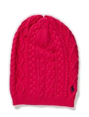 ARAN CABLE SLOUCHY HAT - CURRANT
