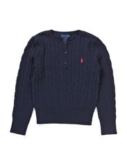 LS CABLE HENLEY SWEATER - HUNTER NAVY