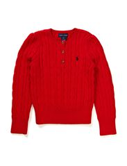LS CABLE HENLEY SWEATER - RL2000 RED
