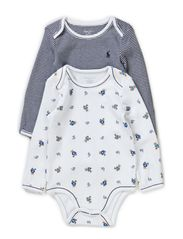 LS 2 PK BEAR BODYSUIT - WHITE MULTI W/F