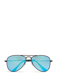 AVIATOR JUNIOR - MATTE BLACK-BLUE MIRROR