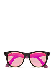 WAYFARER - BLACK-GREEN MIRROR FUXIA