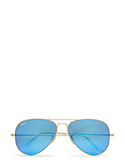AVIATOR LARGE METAL - MATTE GOLD-CRY.GREEN  MIRROR MULTIL.BLUE