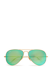 AVIATOR LARGE METAL - MATTE GOLD-CRY.GREEN MIRROR MULTIL.GREEN