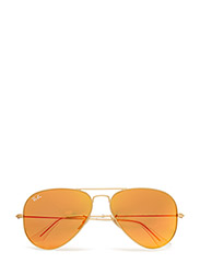AVIATOR LARGE METAL - MATTE GOLD-CRYSTAL BROWN MIRROR ORANGE