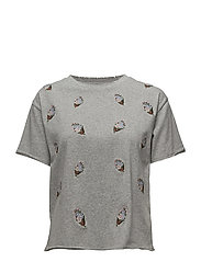Ronnie Tee W/Embroidery - HEATHER GREY
