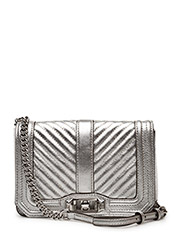 Chevron Quilted Small Love Crossbody - SILVER /  SILVER