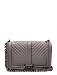 Chevron Quilted Love Crossbody - 020 GREY /  GUNMETAL