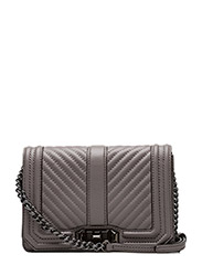 Chevron Quilted Small Love Crossbody - GREY /  GUNMETAL
