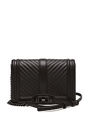 Chevron Quilted Small Love Crossbody - BLACK/BLACK
