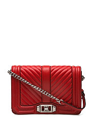 Chevron Quilted Small Love Crossbody - CARNATION RED / SILVER