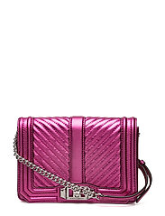 Chevron Quilted Small Love Crossbody - FUSCHIA / SILVER