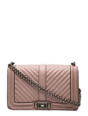 Chevron Quilted Love Crossbody - VINTAGE PINK / ANTIQUE SILVER