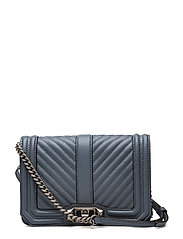 Chevron Quilted Small Love Crossbody - DUSTY BLUE / ANTIQUE SILVER