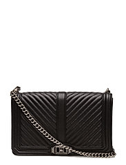 Chevron Quilted Slim Love Crossbody - BLACK / ANTIQUE SILVER