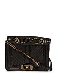 Small Love Crossbody W/ Top Handle - BLACK / ANTIQUE BRASS