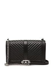 Chevron Quilted Small Love Crossbody - BLACK/SILVER