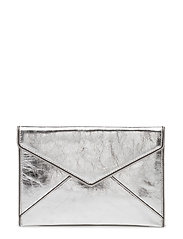 Leo Clutch Distressed Leather - SILVER/SILVER