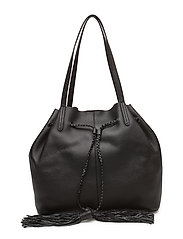 Unlined Drawstring Tote - BLACK/SILVER