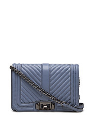 Chevron Quilted Small Love Crossbody - 454 AZURE/GUNMETAL
