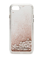 Peace Signs Glitterfall Case Iphone 7 - RG ROSE GOLD GLITTER