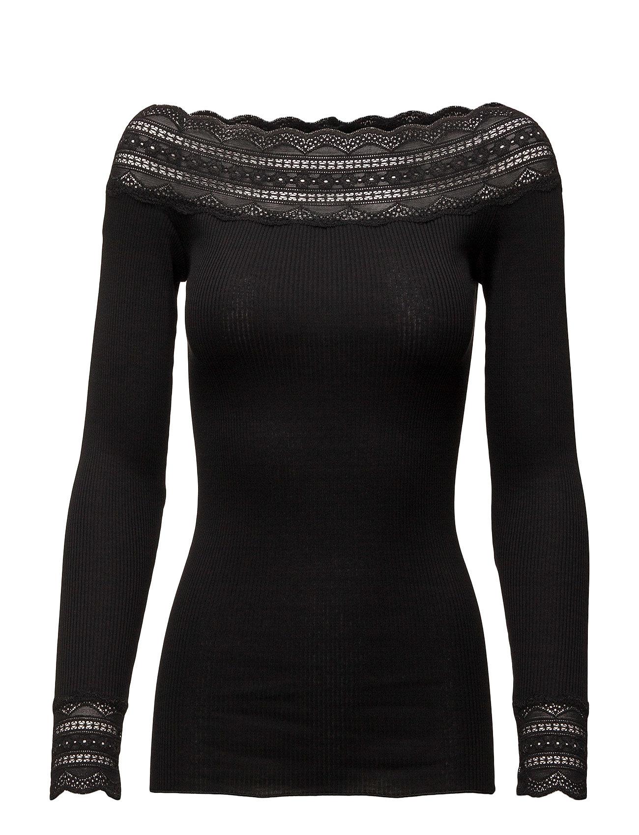 Silk T-Shirt Regular Ls W/Wide Lace Rosemunde Langærmede til Kvinder i Vintage Powder