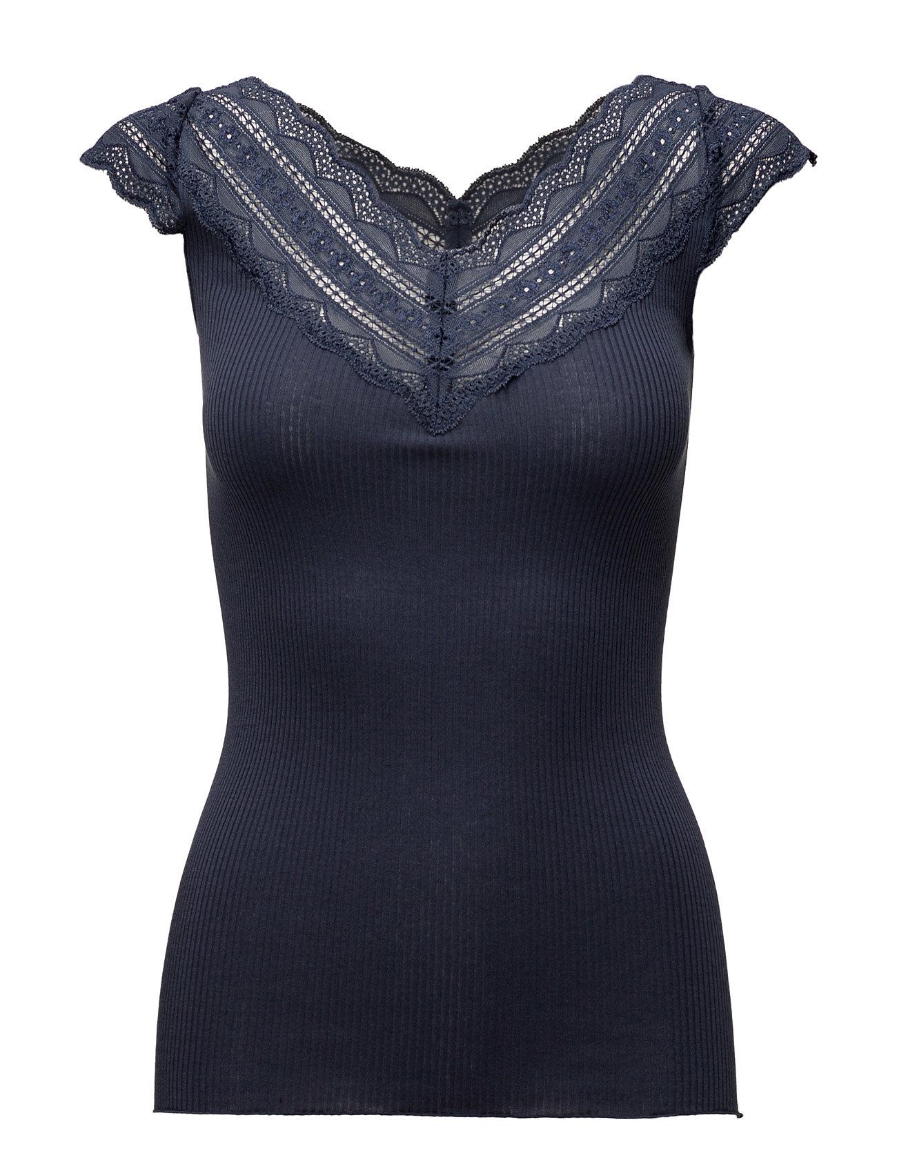 Silk T-Shirt Regular Ss W/Wide Lace Rosemunde T-shirts & toppe til Kvinder i