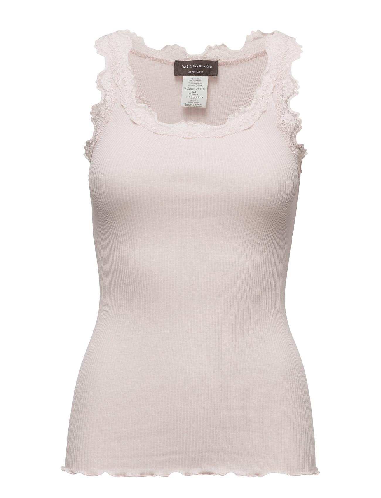 Silk Top Regular W/Vintage Lace Rosemunde Ærmeløse til Damer i