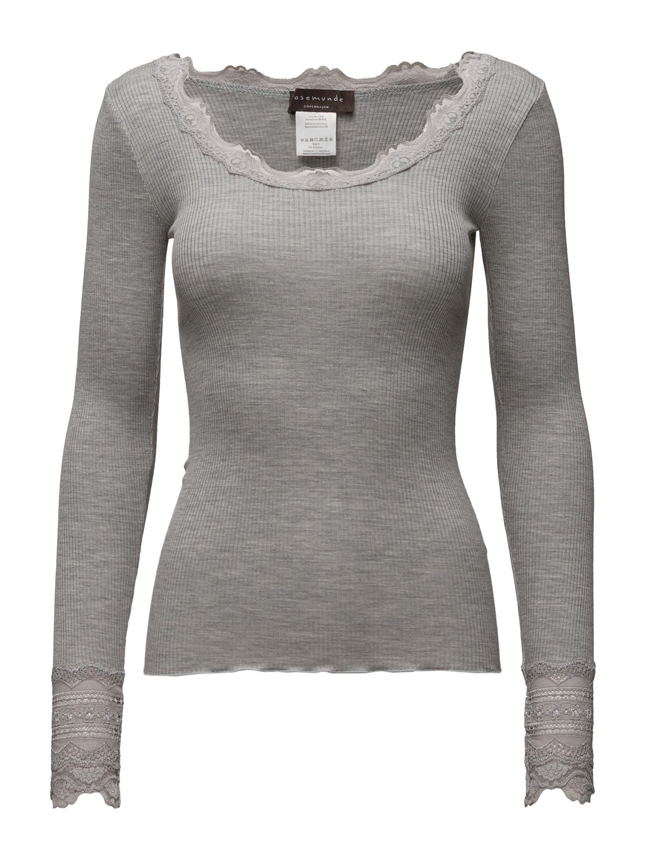 Silk T-Shirt Regular Ls W/Wide Lace Rosemunde Langærmede til Kvinder i Light Grey Melange