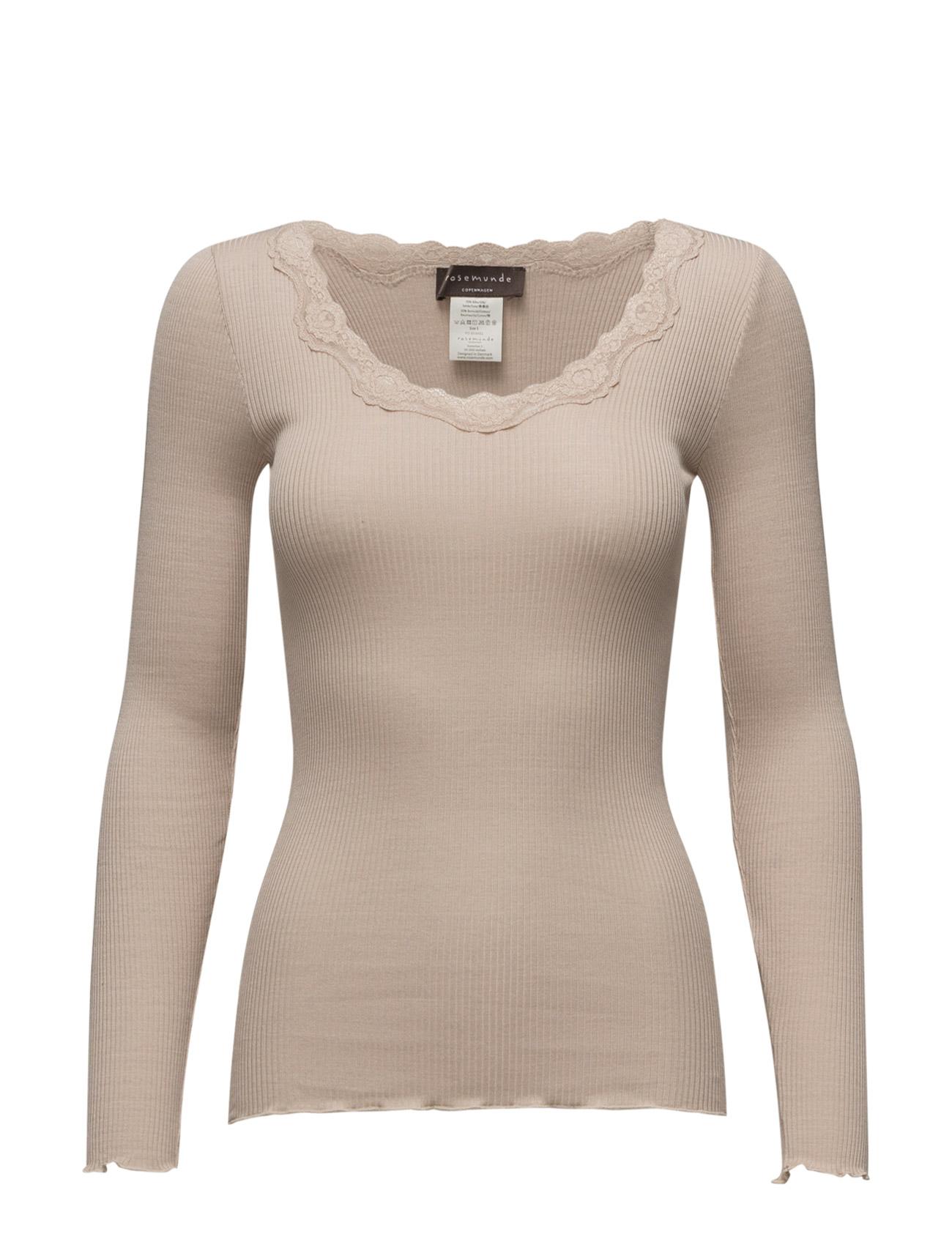 Silk T-Shirt Regular Ls W/Rev Vinta Rosemunde Langærmede til Damer i
