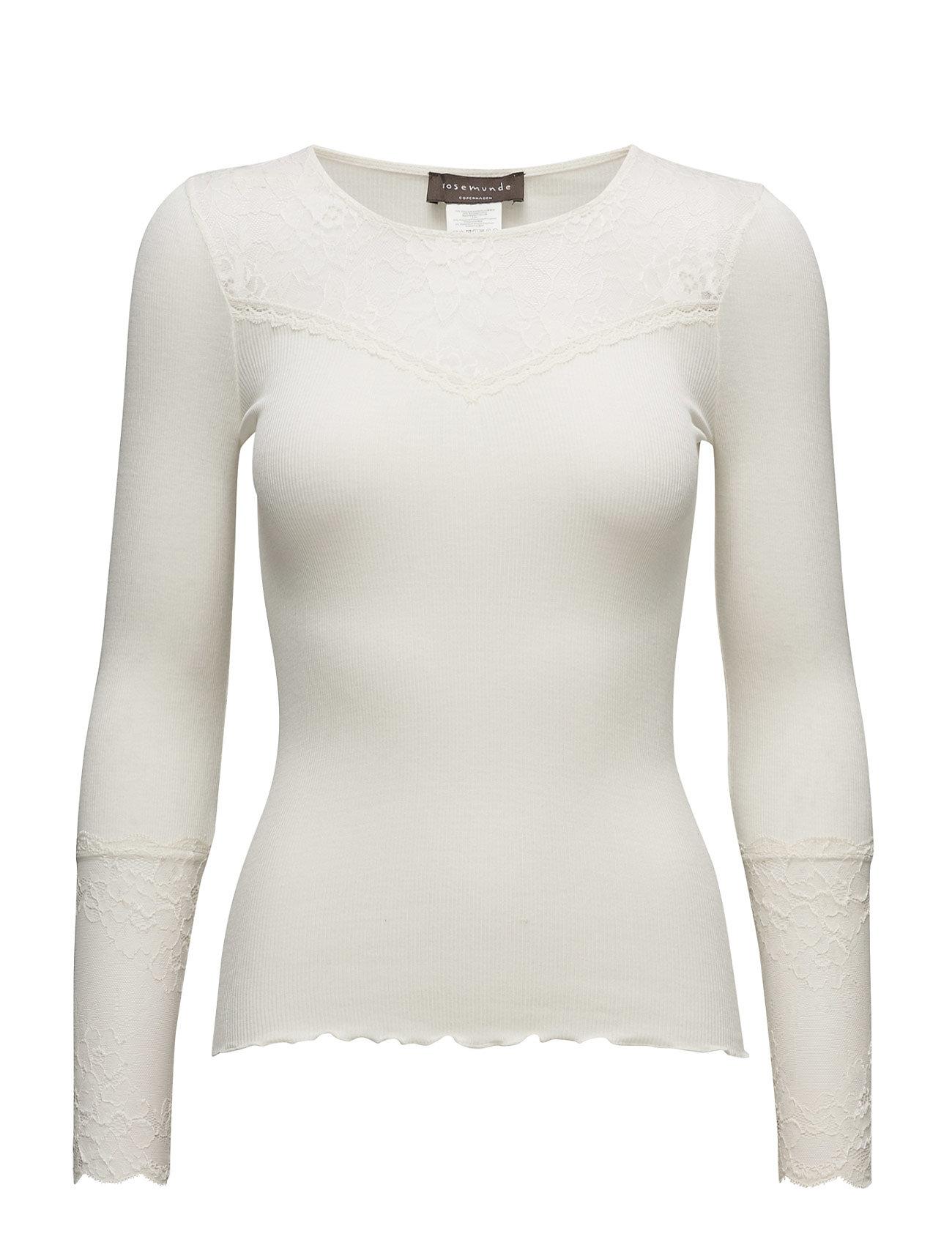 Silk T-Shirt Regular Ls W/Lace Rosemunde Langærmede til Damer i elfenben