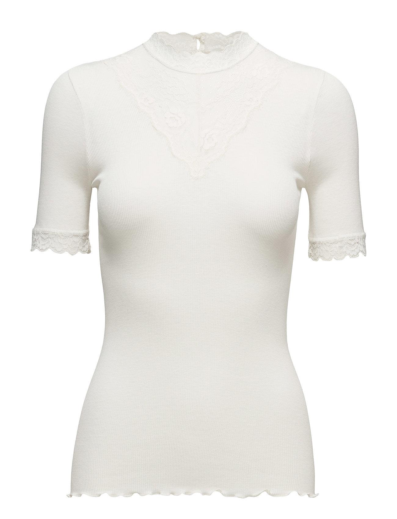 Silk T-Shirt Regular Ss W/ Lace Rosemunde Kortærmede til Damer i elfenben