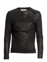 Leather jacket  ls - Black