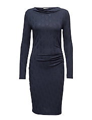 Dress ls - NAVY TEARDROP PRINT
