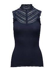 Silk top regular w/wide lace - MARITIME BLUE