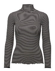 Silk t-shirt regular ls roller neck - BLACK IVORY STRIPE