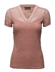 T-shirt regular ss w/lace - FADED ROSE