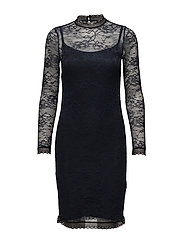 Dress ls - NAVY W/ BLACK