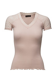 Silk t-shirt regular ss w/lace - SEPIA ROSE