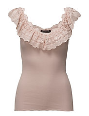 Silk top regular ss w/wide lace - SEPIA ROSE