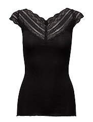 Silk t-shirt regular ss w/wide lace - BLACK