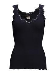 Silk top v-neck regular w/vintage l - Navy