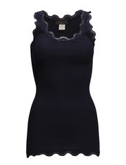 Silk top medium w/vintage lace - Navy