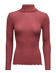 Silk t-shirt regular ls roller neck - MAROON