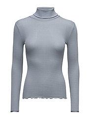 Silk t-shirt regular ls roller neck